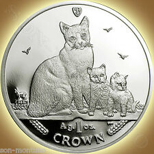 2014 Isle of Man - SNOWSHOE CAT COIN - 1 oz Bullion Silver Proof + Mint BOX/COA