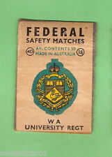 #126.  AUSTRALIAN MATCHBOX LABEL WITH ARMY BADGE #40  WA UNIVERSITY REGT