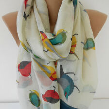 Infinity Scarf Bird Scarf Soft Cotton Animal Scarf Cotton Scarf Gift