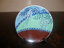 Miniature Japanese Plate--Franklin Porcelain--Blue/Green Leaves--W/Stand---1982