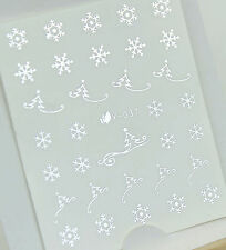 Silver Christmas Snowflakes Xmas Tree Water Transfer Nail Art Stickers Decals UV