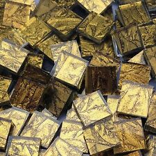 "100+ Van Gogh Stained Glass Mosaic Tiles Gold Sparkle 1/2"" NEW"