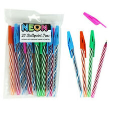 20pc MIXED NEON CANDY STRIPE BALLPOINT PENS BIRO BLACK INK FINE POINT WRITING