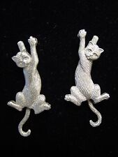 """JJ"" Jonette Jewelry Silver Pewter Hanging CAT w-Swinging Tail Pierced Earrings"