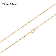"""Lady 18K Gold Plated Box Gold Chain 1mm Long Necklace Fashion Jewellery 24"""""""