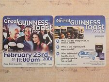 Beer Bar Coaster ~*~ The Great GUINNESS Toast 2001 ~ Trivia Questions ~ IRELAND