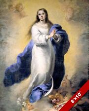 THE VIRGIN MARY IMMACULATE CONCEPTION PAINTING CATHOLIC ART REAL CANVASPRINT