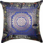 "Blue Mandala 17"" Cushion Pillow Cover Handmade Toss Brocade Indian Throw Decor"