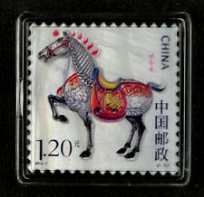 China New Year Stamp Made by Real Shell Carving, 2014 Horse Year