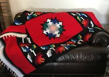 Decorative Tapestry Rug Throw Native American woven Aztec Red Black 48x75
