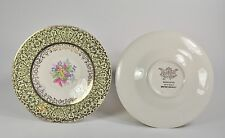 PAIR ROYAL CHINA INC 22-K-GOLD EMPIRE ARDSLEY PLATES SAUCERS