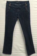 P&P  Dark Wash Military Style Button Boot Cut Jeans Sz 6