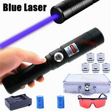 Set Packing Laser Pen Torch Focusable Blue Laser Pointer Burn Match 4x16340 BATT
