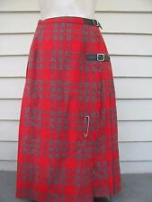 Vintage ARCHIE BROWN & SON Sz 8 Scottish Red Tartan Plaid Pleated Wool Skirt