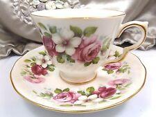Queen Anne Antique Tea Cup Saucer Floral Multi-color Porcelain Post 1940 England