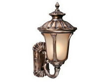 Parisian Bronze And Amber Glass Exterior Wall Light