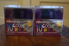 """2 Sets Sealed Memorex Cool Disks PC Formatted 3.5"""" Computer Diskettes 20 Disks"""