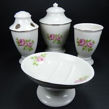 Martha Stewart Everyday Bathroom Accessories Tea Rose Porcelain - 4 Piece Set