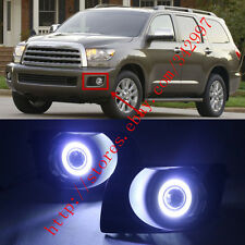 2x LED DRL Daytime Fog Lights Projector+angel eye kit For Toyota Sequoia 2008-15