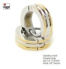 Stainless Steel Huggie Hoop Hinged Snap Hip Hop Fashion DJ Earrings SSHE 038TT