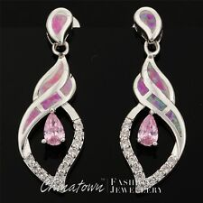 LAB PINK FIRE OPAL 3X5MM PEAR SIMULATED PINK SAPPHIRE SILVER SF DROP EARRINGS