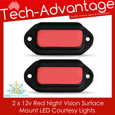 2 X 12V SURFACE MOUNTED NIGHT RED COURTESY BOAT/DECK/STAIRS/COMPANION LED LIGHTS