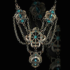 RESTYLE STEAMPUNK KRAKEN NECKLACE. VICTORIAN GOTHIC. TURQUOISE. SEA MONSTER.