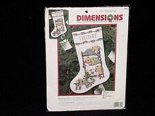 """Dimensions Christmas Counted Cross Stitch Kit Sleeping Bears Stocking 16""""  8491"""
