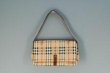 Authentic BURBERRY Hand bag Pouch Checkered Beige 535k14