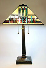 "Tiffany Style Stained Glass Mission Table Lamp Handcrafted 18"" Shade"