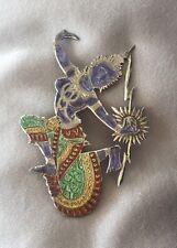 Vintage Siam LARGE Sterling Silver MULTI Color ENAMEL Pin Brooch  FIGURAL DANCER