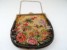 ANTIQUE MARIA STRANSKY PETIT POINT NEEDLEPOINT BAG PURSE CLASP SWAN