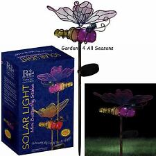 PINK BUTTERFLY Mini BOTTLE Solar Light Garden Stake Creekwood Regal Art Gift Box
