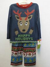 BOYS SIZE 5 TARGET REINDEER SWEATER LOOK CHRISTMAS 2 PC PAJAMAS NEW NWT 114*
