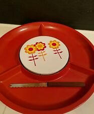 Vintage Red Melamine Round Divided Serving Tray Dish yellow Flowers Cheese Board