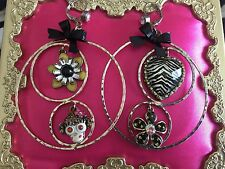 Betsey Johnson Vintage Safari Monkey Zebra Lucite Zebra Heart Hoop Earrings RARE