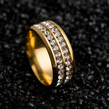 Sz8-12 Unisex CZ Stainless Steel Ring Men/Women's Wedding Band Black/Silver/Gold