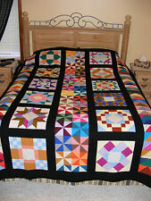 Colorful*** AMISH*** Sampler Quilt-HANDMADE! machine quilted, NEW, NEVER USED!
