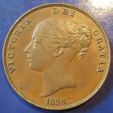 1858 Victoria copper Penny: no WW, Gouby Ha, very high grade
