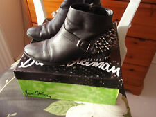 SAM EDELMAN PAX BLACK LEATHER STUDDED RHINESTONE ANKLE BOOTS SIZE 4