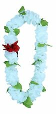Hawaiian Lei Party Luau Floral Hibiscus Flower Dance Necklace Solid White All