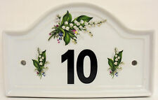 Lily of the Valley House Door Number Plaque Lilies Ceramic House Sign Any Number