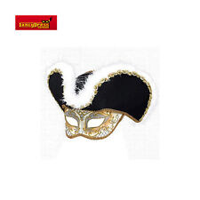 Los hombres estilo veneciano Masquerade Golden Highwayman Máscara Prom Bola Fancy Dress W Sombrero