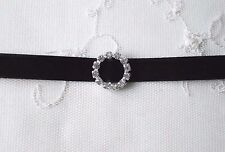 Black velvet choker necklace with diamante detail