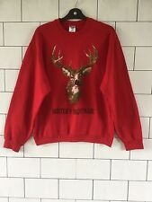 80'S STYLE STAG HUNTER AMERICAN VARSITY NOVELTY PRINT VINTAGE RETRO SWEATER #49