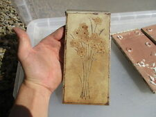 Italian Ceramic Tile Brown Floral Bunch of Flowers Vintage / Retro Architectural