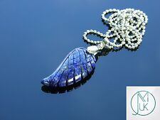 Lapis Lazuli Gemstone Angel Wing Pendant Necklace Natural Chakra Healing Stone