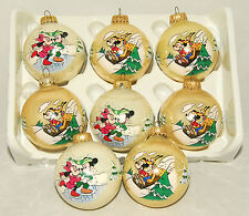 DISNEY - VTG - Ball - Mickey Mouse - Minnie & Pluto Christmas Ornaments Set of 8