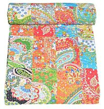 INDIAN VINTAGE KANTHA QUILT COTTON PATCHWORK BEDSPREAD BLANKET THROW TWIN QUILT