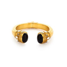 JULIE VOS GREEK KEY HINGE CUFF GOLD TONE BLACK ONYX ENDCAPS W/ PEARL LIKE ACCENT